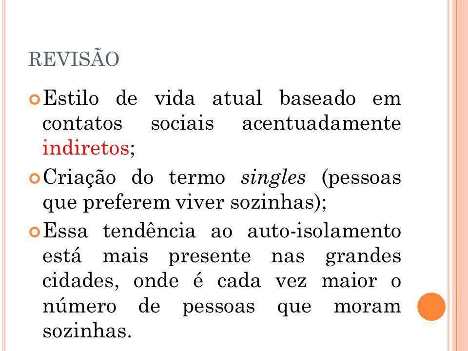 REVISÃO Estilo de vida atual baseado em contatos sociais acentuadamente indiretos; Criação do termo singles (pessoas que preferem viver sozinhas); Ess