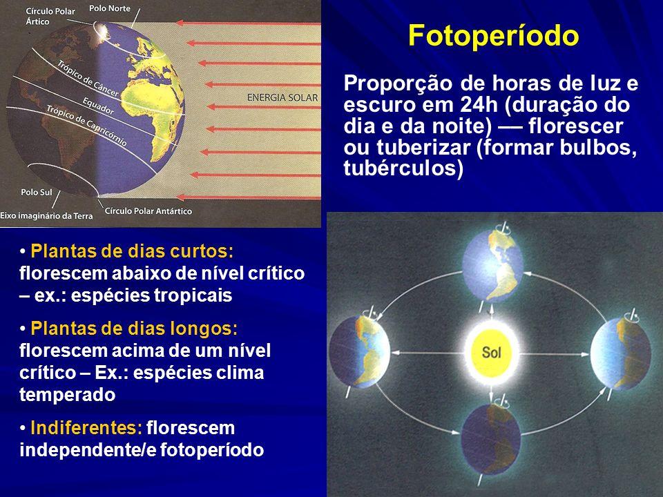 Temperatura Cada espécie - T mínima, máxima, faixa ótima – desenvolvimento, fitomassa, flores, p.a.