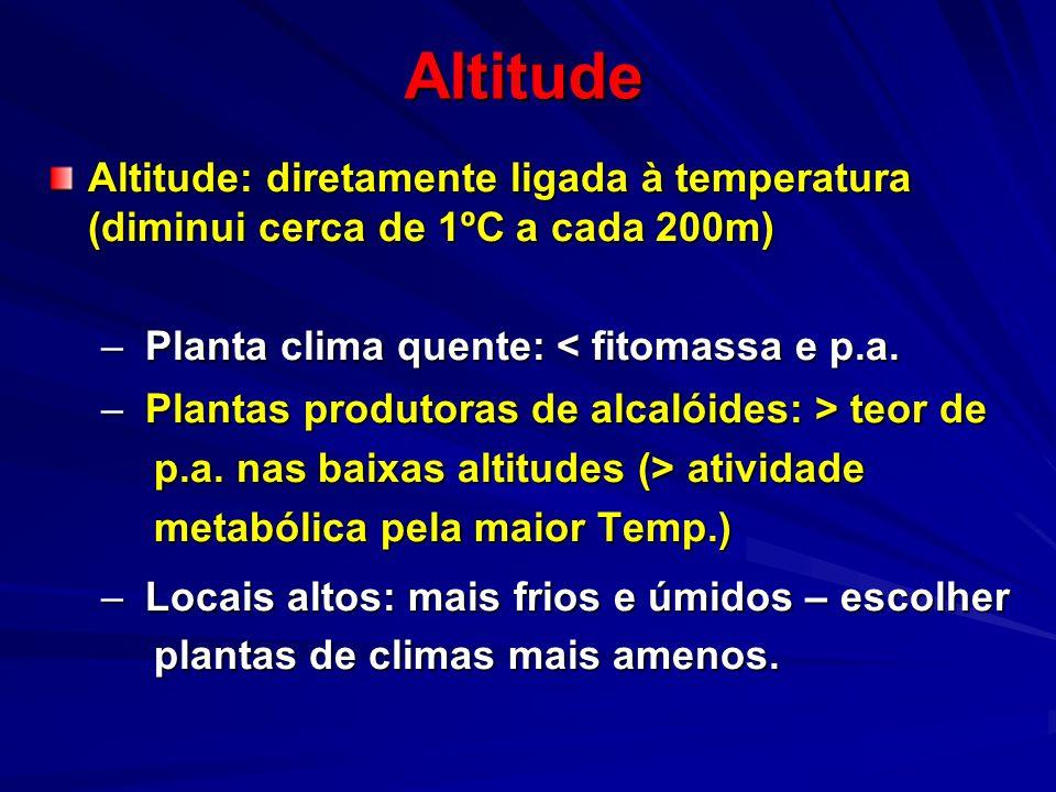 Altitude Altitude: diretamente ligada à temperatura (diminui cerca de 1ºC a cada 200m) – Planta clima quente: < fitomassa e p.a. – Plantas produtoras