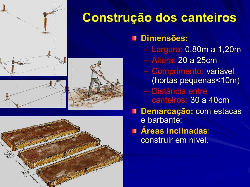 Dimensões: –Largura: 0,80m a 1,20m –Altura: 20 a 25cm –Comprimento: variável (hortas pequenas<10m) –Distância entre canteiros: 30 a 40cm Demarcação: c