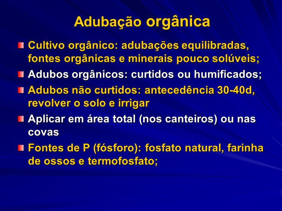 Adubação orgânica Cultivo orgânico: adubações equilibradas, fontes orgânicas e minerais pouco solúveis; Adubos orgânicos: curtidos ou humificados; Adu