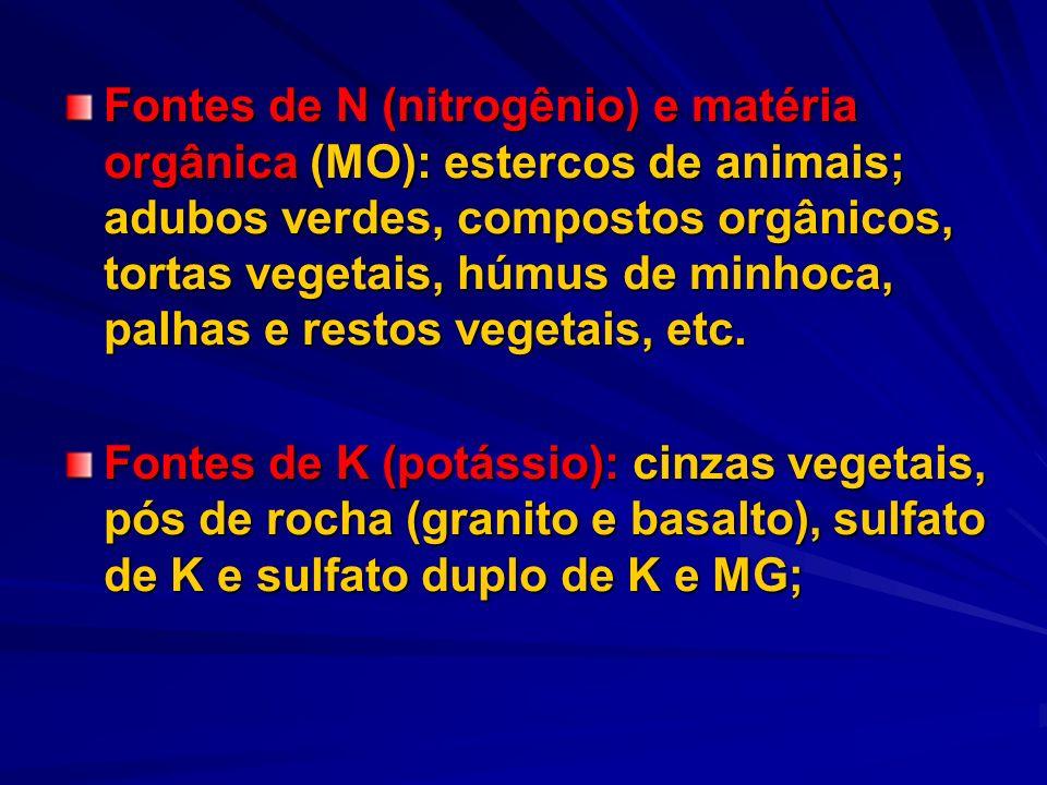 Fontes de N (nitrogênio) e matéria orgânica (MO): estercos de animais; adubos verdes, compostos orgânicos, tortas vegetais, húmus de minhoca, palhas e