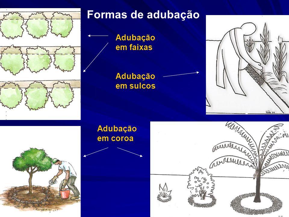 Adubação em faixas Adubação em coroa Adubação em sulcos Formas de adubação