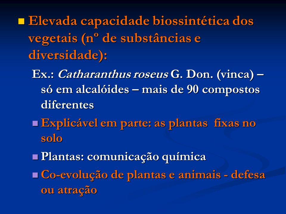 Elevada capacidade biossintética dos vegetais (nº de substâncias e diversidade): Elevada capacidade biossintética dos vegetais (nº de substâncias e di
