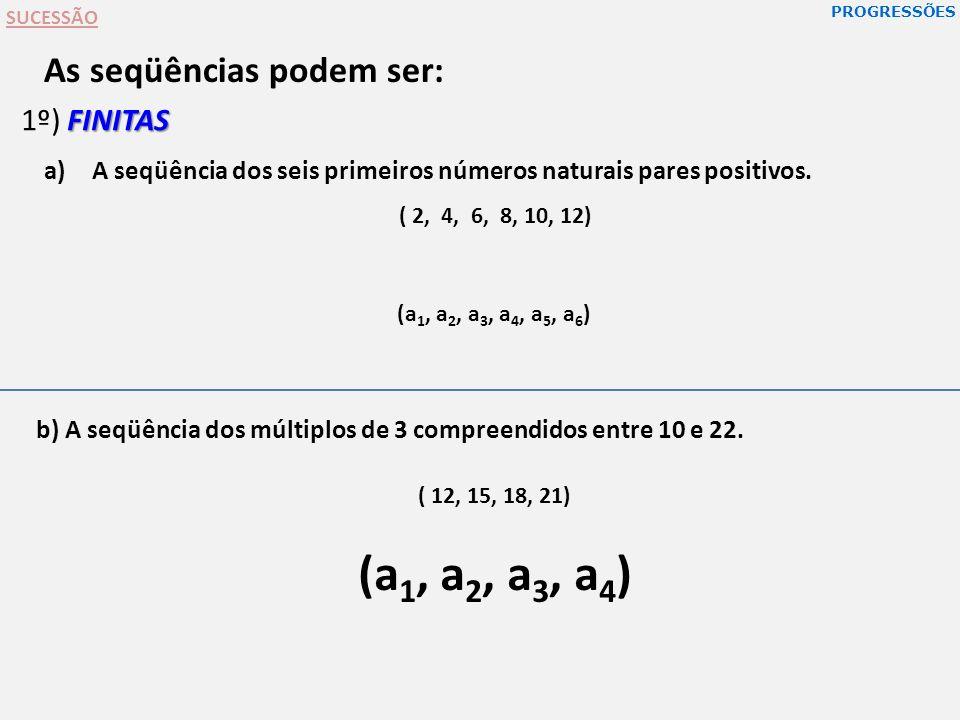 As seqüências podem ser: b) A seqüência dos múltiplos de 3 compreendidos entre 10 e 22. FINITAS 1º) FINITAS a)A seqüência dos seis primeiros números n