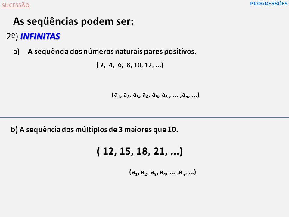 PROGRESSÕES SUCESSÃO As seqüências podem ser: b) A seqüência dos múltiplos de 3 maiores que 10. INFINITAS 2º) INFINITAS a)A seqüência dos números natu