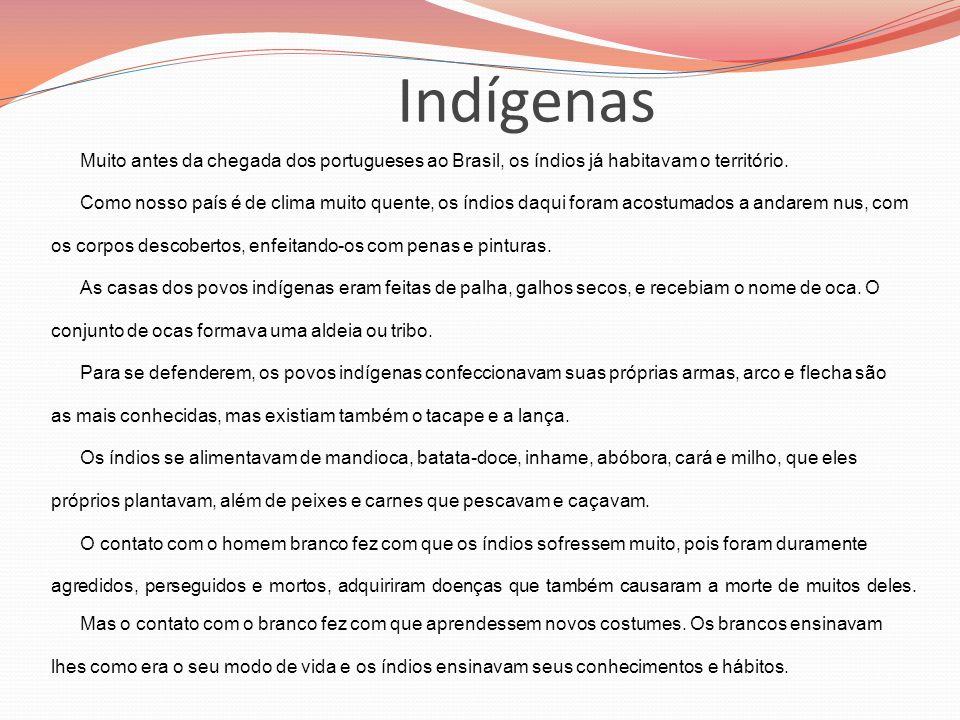 Indígenas Muito antes da chegada dos portugueses ao Brasil, os índios já habitavam o território. Como nosso país é de clima muito quente, os índios da