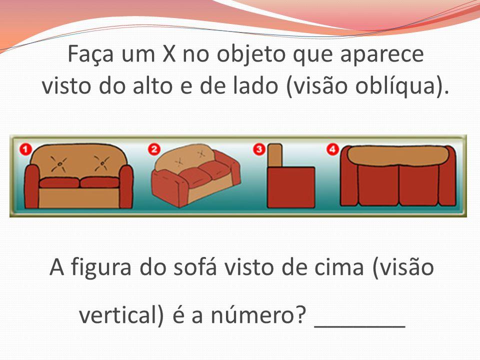 Faça um X no objeto que aparece visto do alto e de lado (visão oblíqua). A figura do sofá visto de cima (visão vertical) é a número? _______
