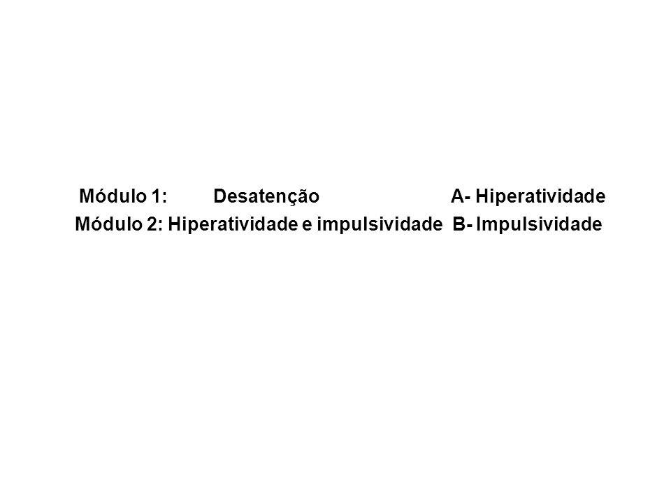 Módulo 1: Desatenção A- Hiperatividade Módulo 2: Hiperatividade e impulsividade B- Impulsividade