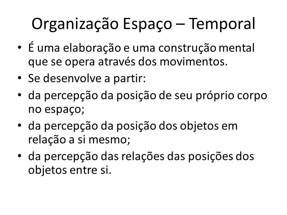 Organização Espaço – Temporal É uma elaboração e uma construção mental que se opera através dos movimentos. Se desenvolve a partir: da percepção da po