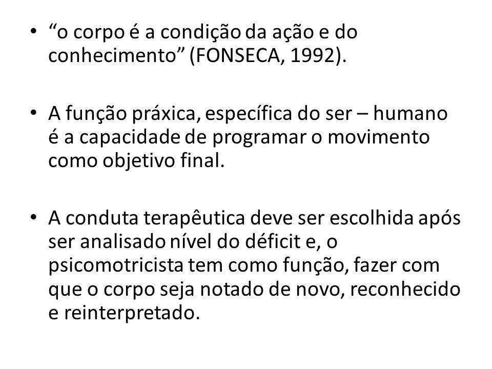 o corpo é a condição da ação e do conhecimento (FONSECA, 1992). A função práxica, específica do ser – humano é a capacidade de programar o movimento c