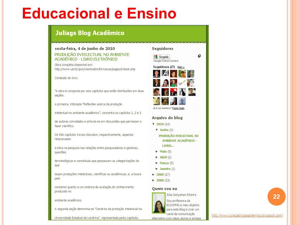 http://www.juliagsblogacademico.blogspot.com/ Educacional e Ensino 22