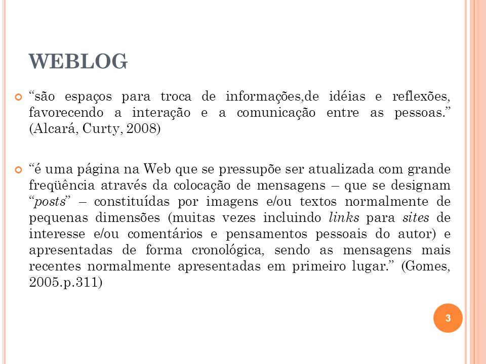 WEBLOG são espaços para troca de informações,de idéias e reflexões, favorecendo a interação e a comunicação entre as pessoas. (Alcará, Curty, 2008) é