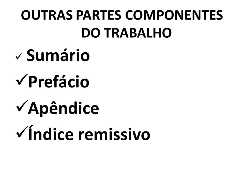 OUTRAS PARTES COMPONENTES DO TRABALHO Sumário Prefácio Apêndice Índice remissivo