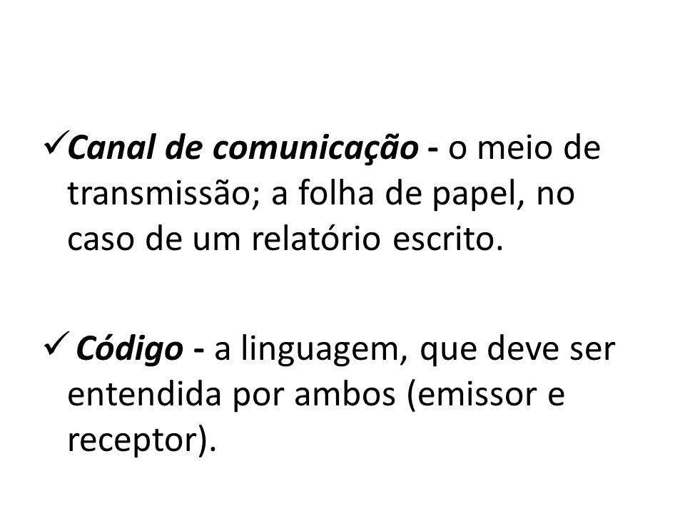 Canal de comunicação - o meio de transmissão; a folha de papel, no caso de um relatório escrito. Código - a linguagem, que deve ser entendida por ambo