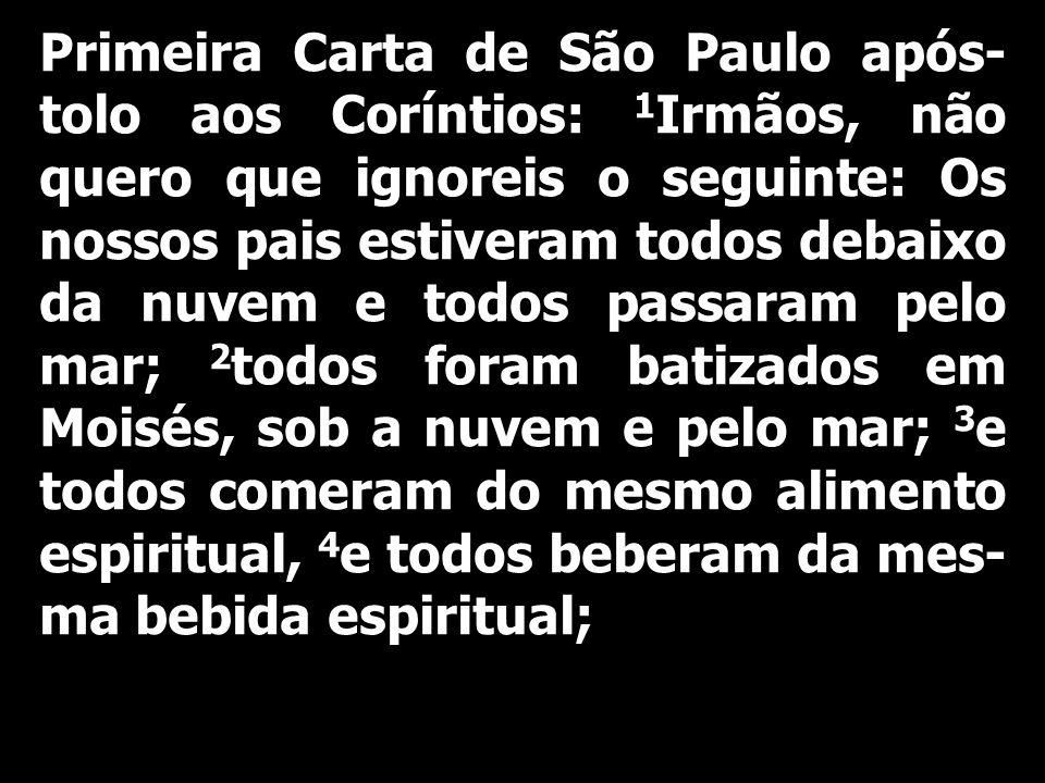 Primeira Carta de São Paulo após- tolo aos Coríntios: 1 Irmãos, não quero que ignoreis o seguinte: Os nossos pais estiveram todos debaixo da nuvem e t