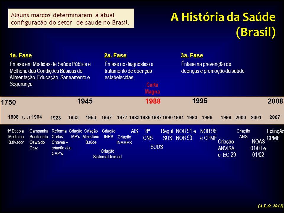 1945 1995 1a. Fase Ênfase em Medidas de Saúde Pública e Melhoria das Condições Básicas de Alimentação, Educação, Saneamento e Segurança 2a. Fase Ênfas
