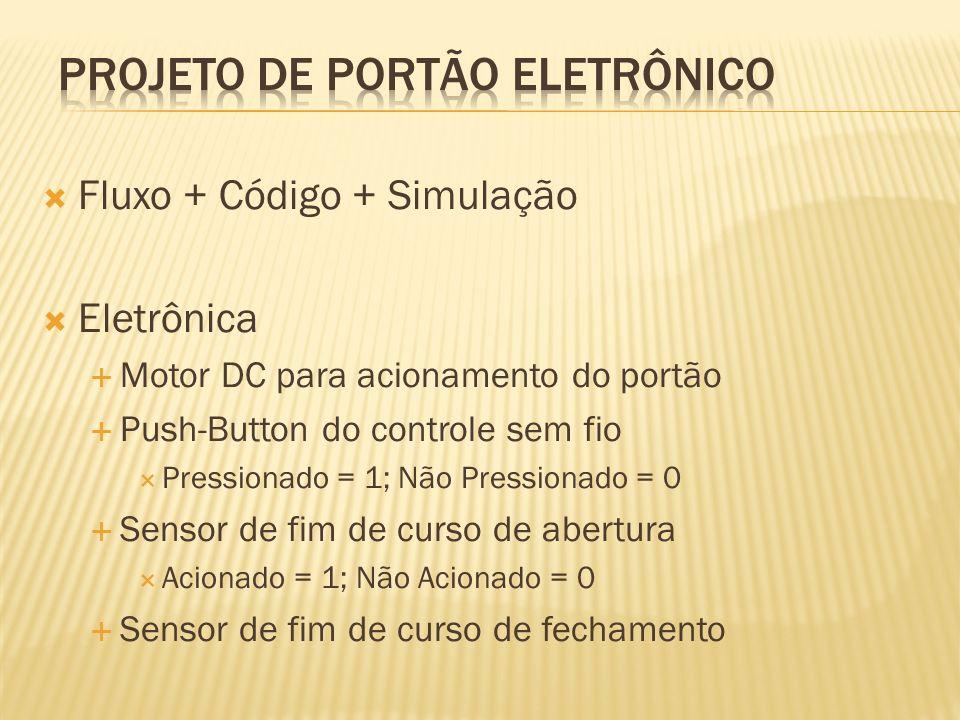 Fluxo + Código + Simulação Eletrônica Motor DC para acionamento do portão Push-Button do controle sem fio Pressionado = 1; Não Pressionado = 0 Sensor