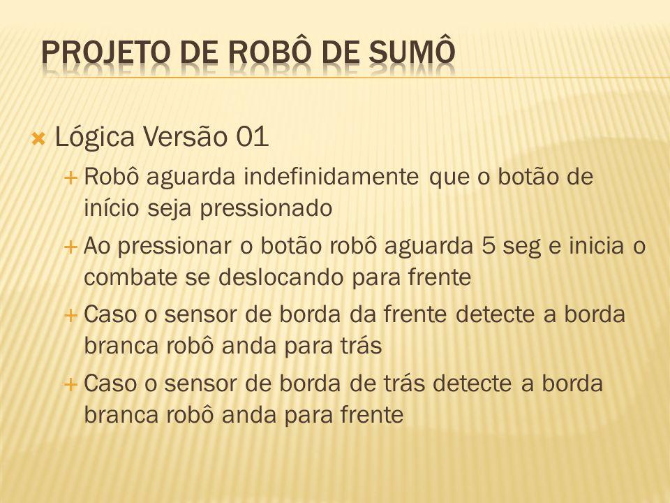 Lógica Versão 01 Robô aguarda indefinidamente que o botão de início seja pressionado Ao pressionar o botão robô aguarda 5 seg e inicia o combate se de