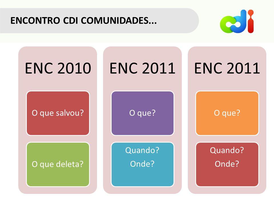 ENCONTRO CDI COMUNIDADES... ENC 2010 O que salvou?O que deleta? ENC 2011 O que? Quando? Onde? ENC 2011 O que? Quando? Onde?