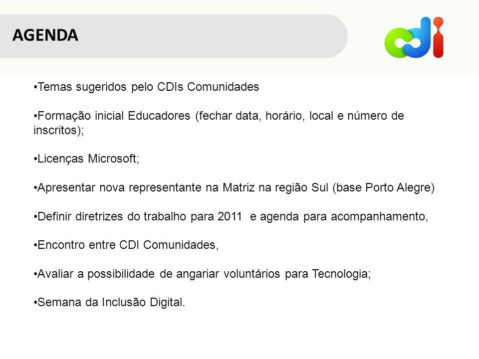 Temas sugeridos pelo CDIs Comunidades Formação inicial Educadores (fechar data, horário, local e número de inscritos); Licenças Microsoft; Apresentar