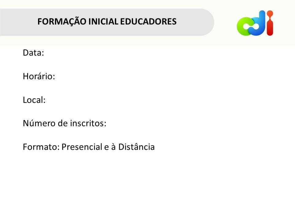 FORMAÇÃO INICIAL EDUCADORES Data: Horário: Local: Número de inscritos: Formato: Presencial e à Distância