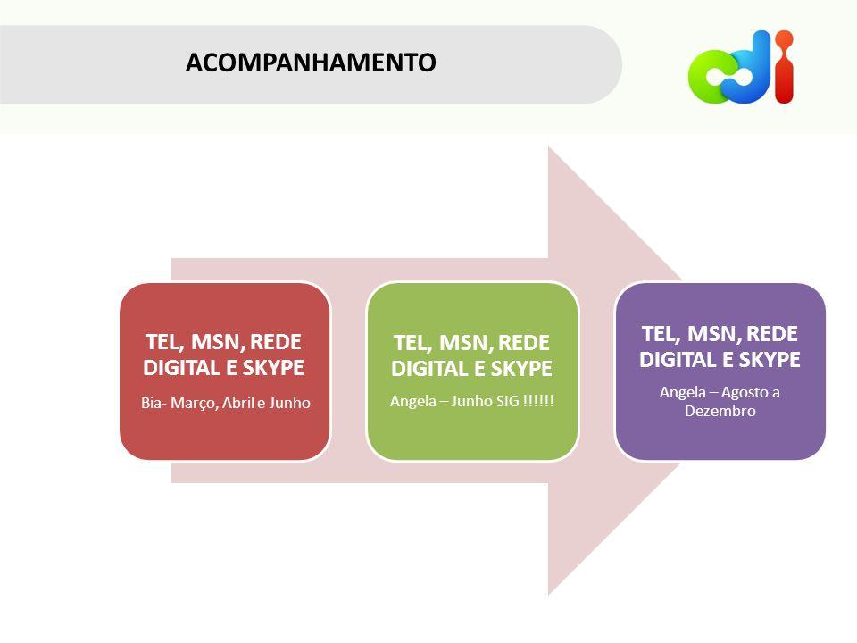 ACOMPANHAMENTO TEL, MSN, REDE DIGITAL E SKYPE Bia- Março, Abril e Junho TEL, MSN, REDE DIGITAL E SKYPE Angela – Junho SIG !!!!!.