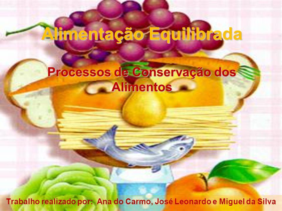 Alimentação Equilibrada Processos de Conservação dos Alimentos Trabalho realizado por: Ana do Carmo, José Leonardo e Miguel da Silva