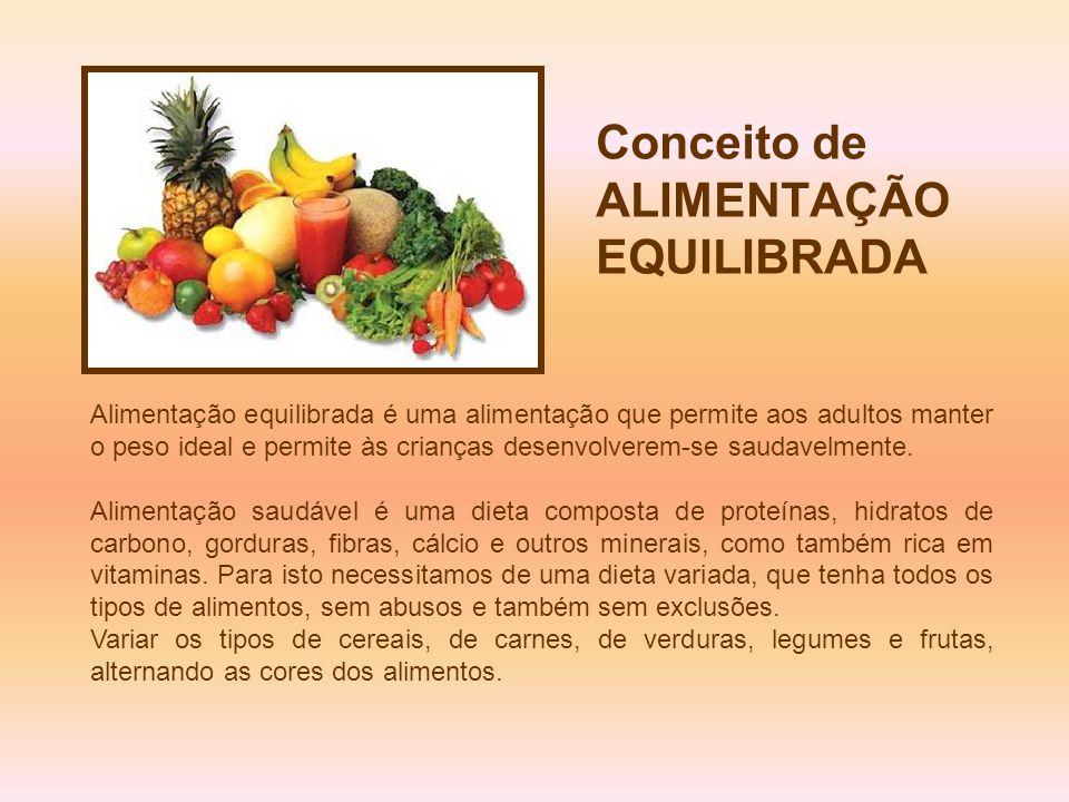 Conceito de ALIMENTAÇÃO EQUILIBRADA Alimentação equilibrada é uma alimentação que permite aos adultos manter o peso ideal e permite às crianças desenv