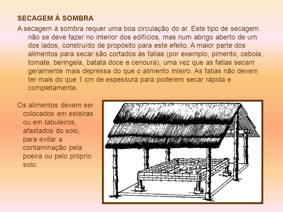 SECAGEM À SOMBRA A secagem à sombra requer uma boa circulação do ar. Este tipo de secagem não se deve fazer no interior dos edifícios, mas num abrigo