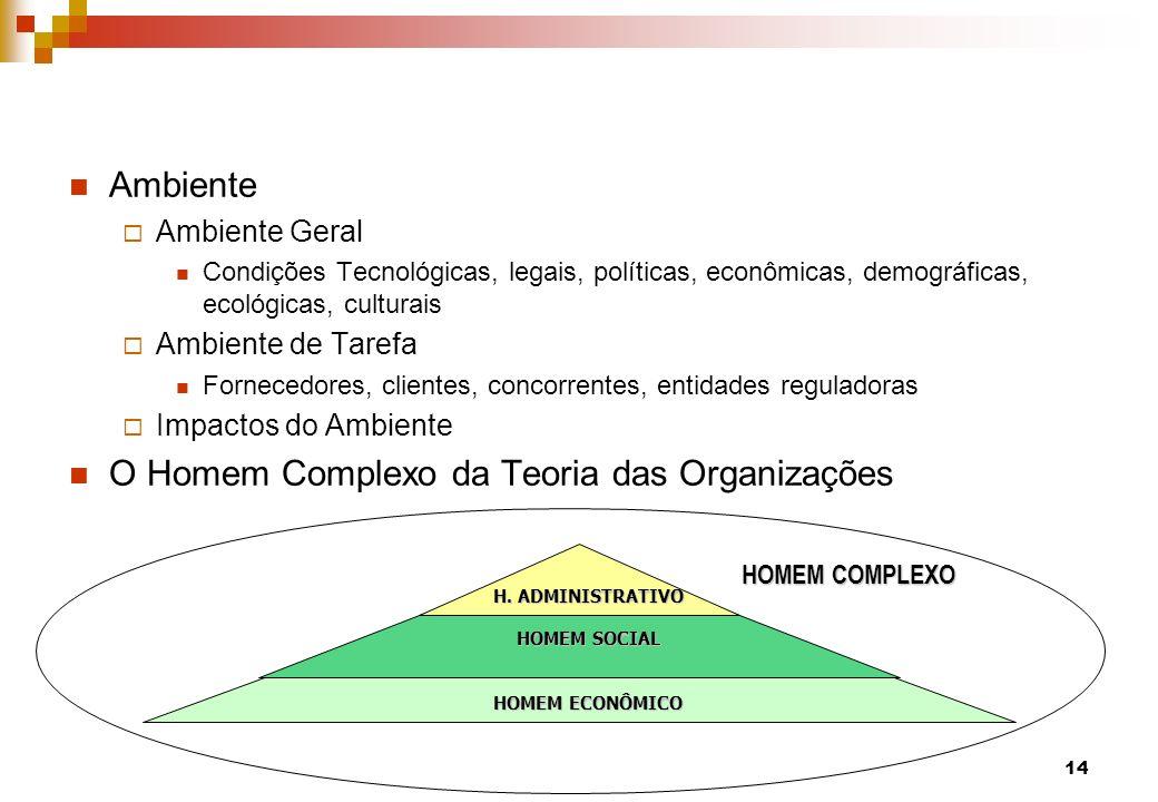 Ambiente Ambiente Geral Condições Tecnológicas, legais, políticas, econômicas, demográficas, ecológicas, culturais Ambiente de Tarefa Fornecedores, cl