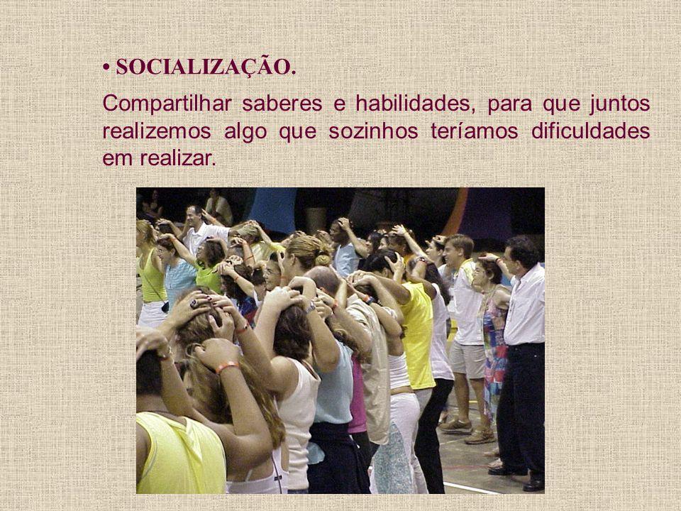 SOCIALIZAÇÃO. Compartilhar saberes e habilidades, para que juntos realizemos algo que sozinhos teríamos dificuldades em realizar.