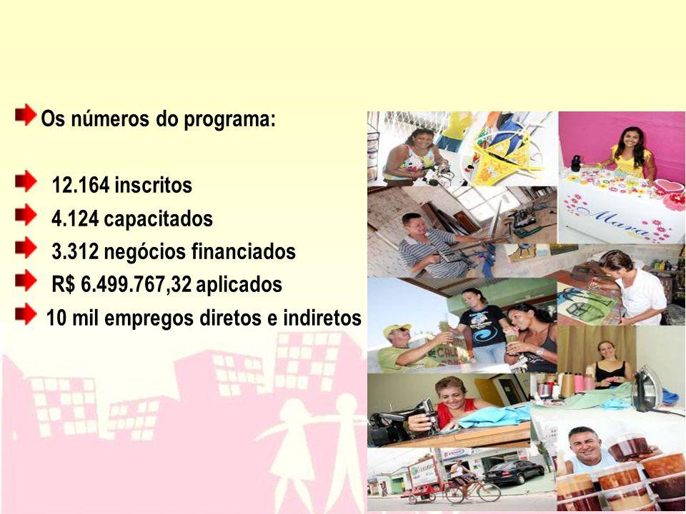 Os números do programa: 12.164 inscritos 4.124 capacitados 3.312 negócios financiados R$ 6.499.767,32 aplicados 10 mil empregos diretos e indiretos
