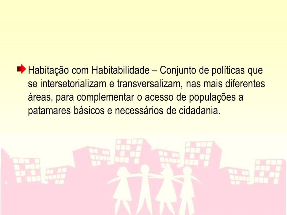 Habitação com Habitabilidade – Conjunto de políticas que se intersetorializam e transversalizam, nas mais diferentes áreas, para complementar o acesso