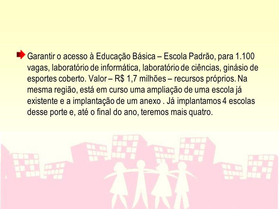 Garantir o acesso à Educação Básica – Escola Padrão, para 1.100 vagas, laboratório de informática, laboratório de ciências, ginásio de esportes cobert
