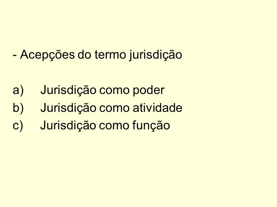 - Acepções do termo jurisdição a)Jurisdição como poder b)Jurisdição como atividade c) Jurisdição como função