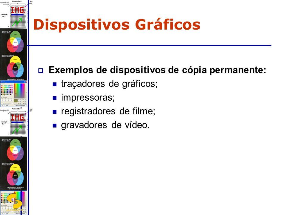 DSC/CEEI/UFCG Exemplos de dispositivos de cópia permanente: traçadores de gráficos; impressoras; registradores de filme; gravadores de vídeo. Disposit