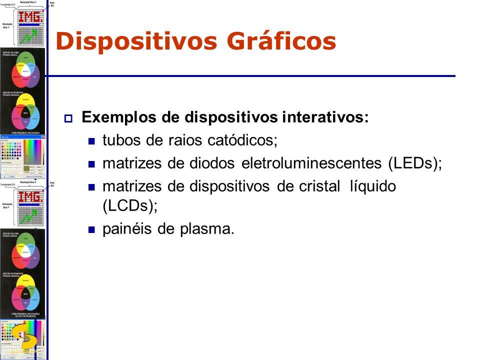 DSC/CEEI/UFCG Exemplos de dispositivos interativos: tubos de raios catódicos; matrizes de diodos eletroluminescentes (LEDs); matrizes de dispositivos