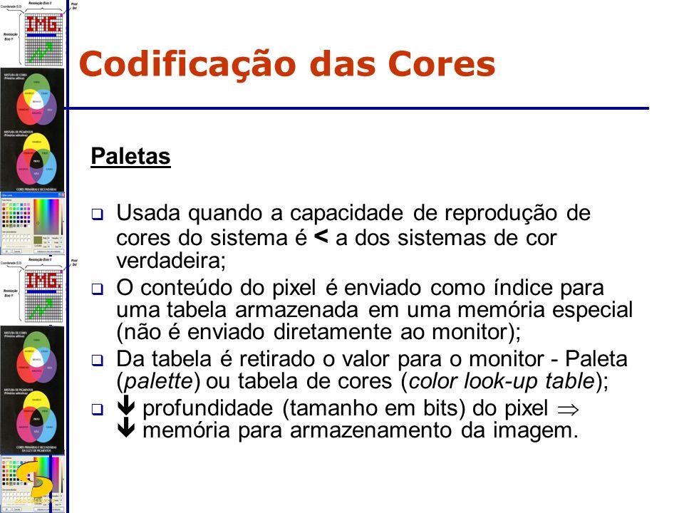DSC/CEEI/UFCG Paletas Usada quando a capacidade de reprodução de cores do sistema é < a dos sistemas de cor verdadeira; O conteúdo do pixel é enviado