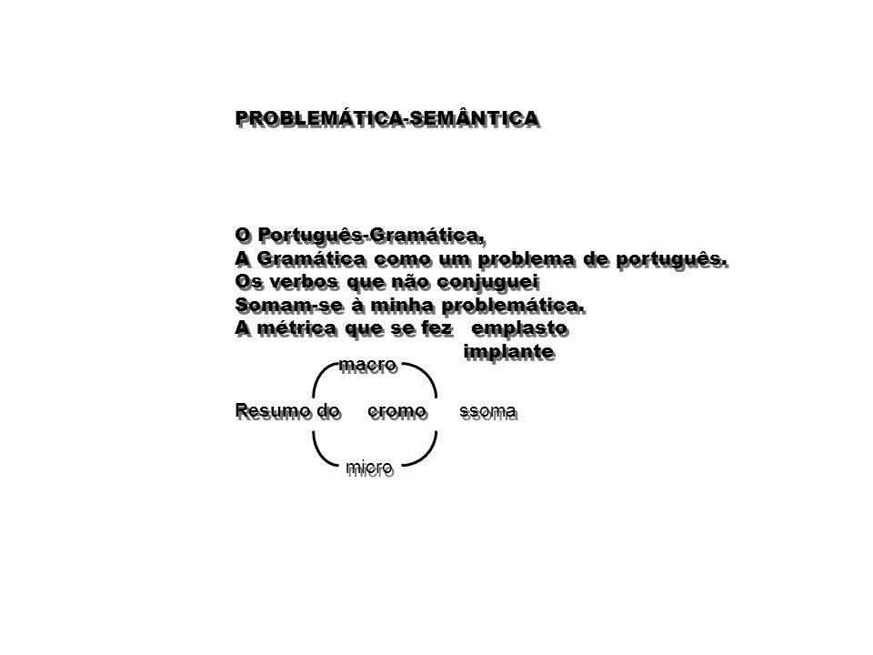 PROBLEMÁTICA-SEMÂNTICA O Português-Gramática, A Gramática como um problema de português. Os verbos que não conjuguei Somam-se à minha problemática. A
