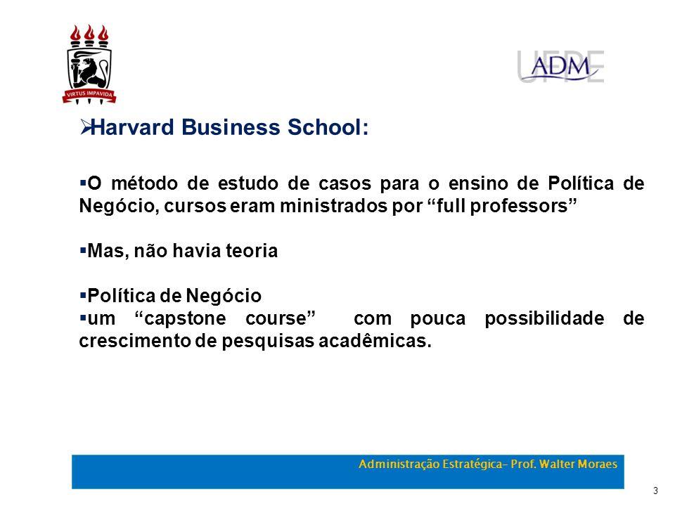 Harvard Business School: O método de estudo de casos para o ensino de Política de Negócio, cursos eram ministrados por full professors Mas, não havia