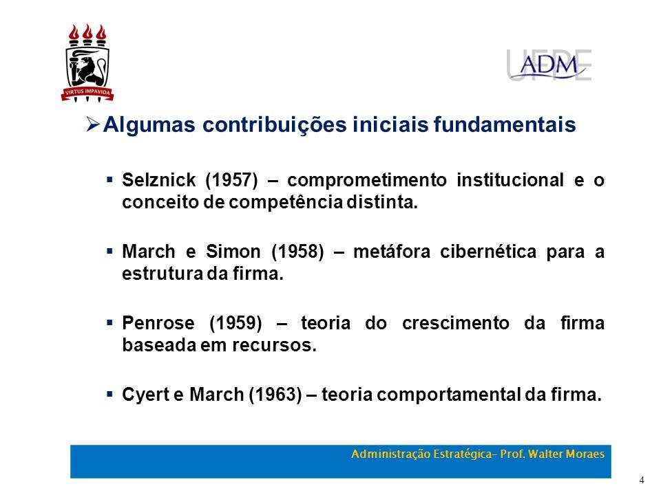 Algumas contribuições iniciais fundamentais Selznick (1957) – comprometimento institucional e o conceito de competência distinta. March e Simon (1958)