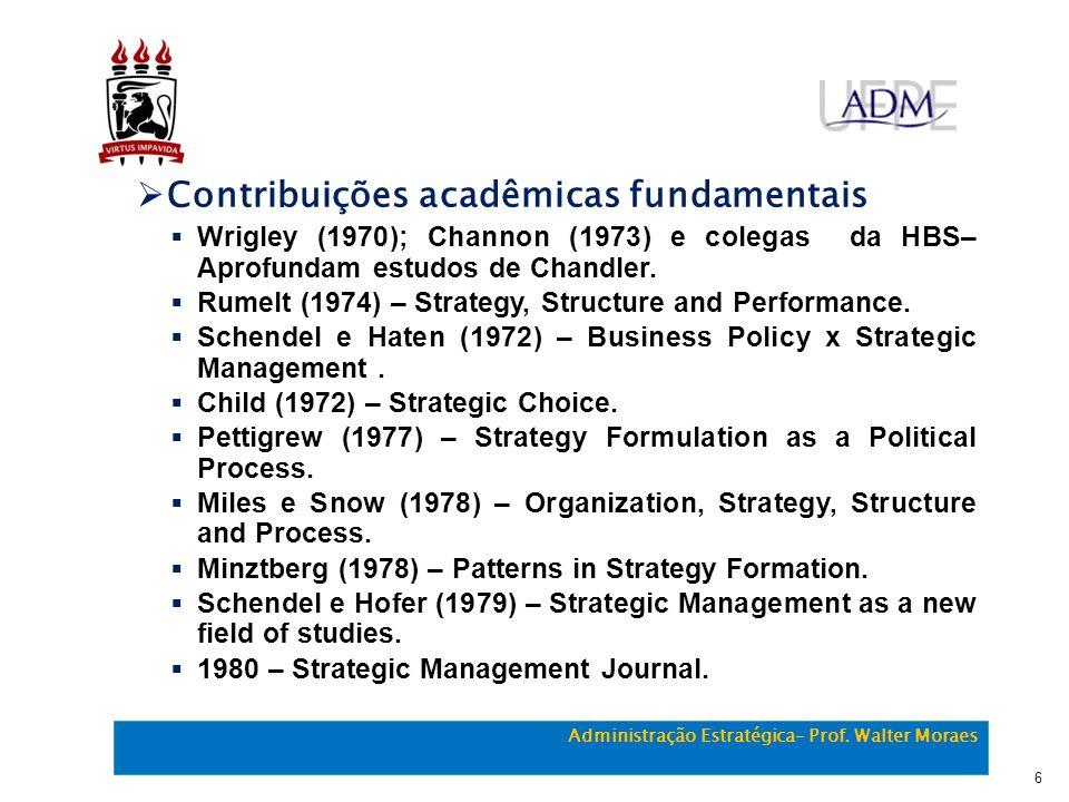 Contribuições acadêmicas fundamentais Wrigley (1970); Channon (1973) e colegas da HBS– Aprofundam estudos de Chandler. Rumelt (1974) – Strategy, Struc