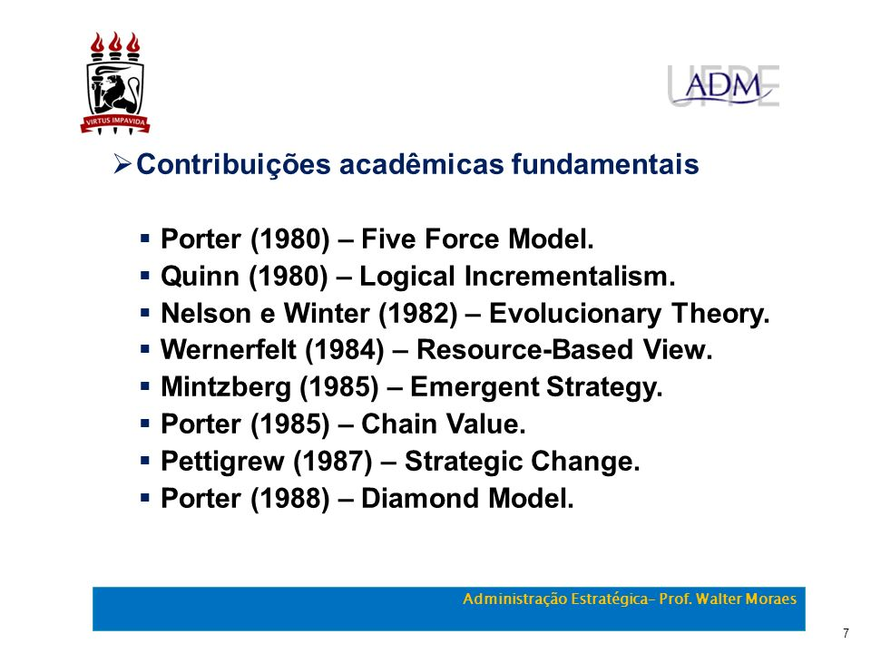 Contribuições acadêmicas fundamentais Porter (1980) – Five Force Model. Quinn (1980) – Logical Incrementalism. Nelson e Winter (1982) – Evolucionary T