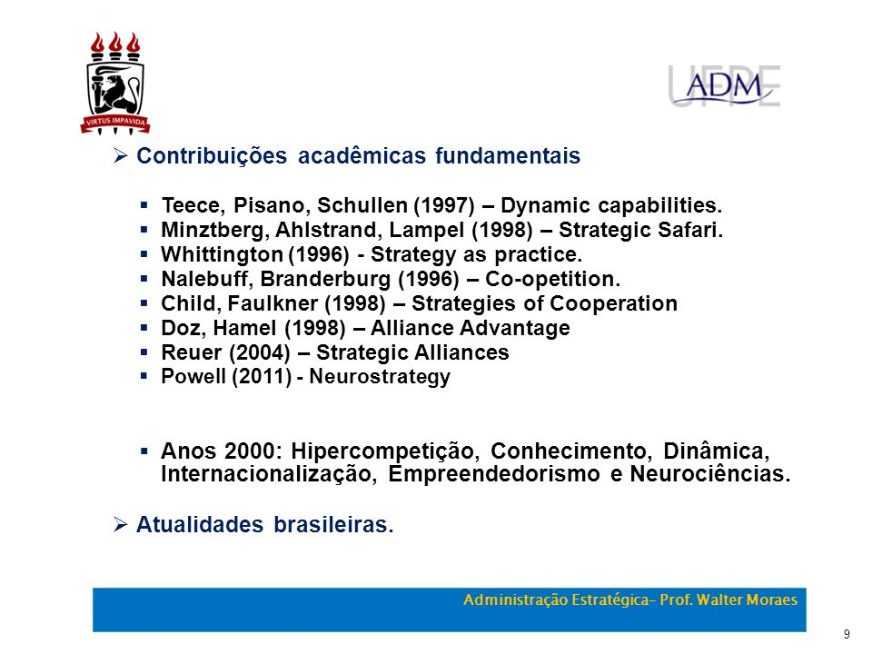 Contribuições acadêmicas fundamentais Teece, Pisano, Schullen (1997) – Dynamic capabilities. Minztberg, Ahlstrand, Lampel (1998) – Strategic Safari. W