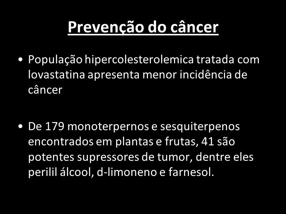 Prevenção do câncer População hipercolesterolemica tratada com lovastatina apresenta menor incidência de câncer De 179 monoterpernos e sesquiterpenos