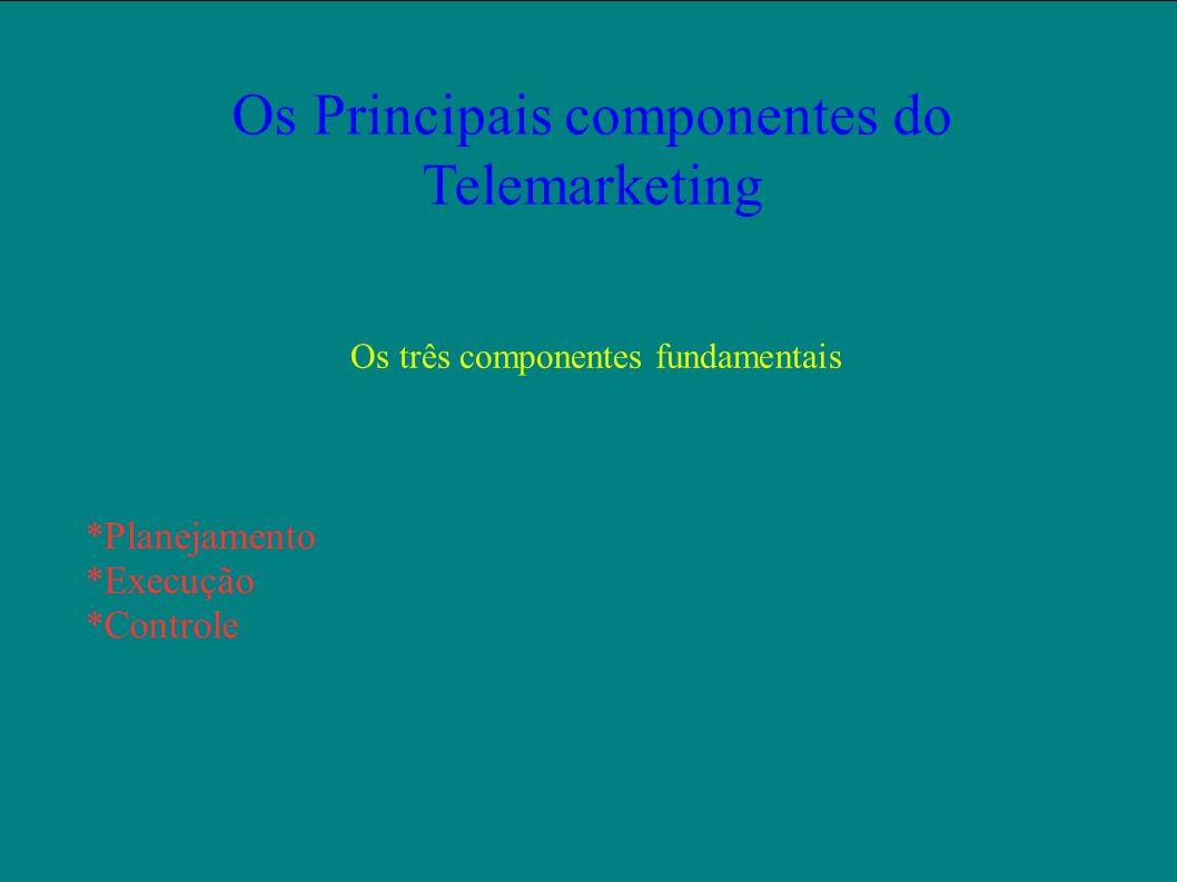 Os Principais componentes do Telemarketing Os três componentes fundamentais *Planejamento *Execução *Controle