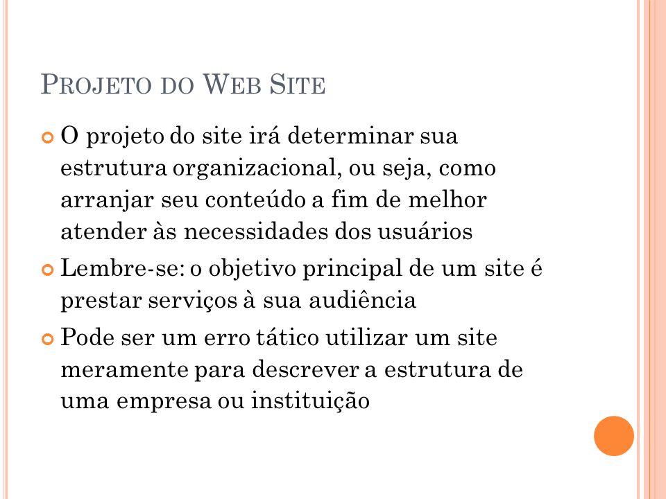 P ROJETO DO W EB S ITE O projeto do site irá determinar sua estrutura organizacional, ou seja, como arranjar seu conteúdo a fim de melhor atender às n