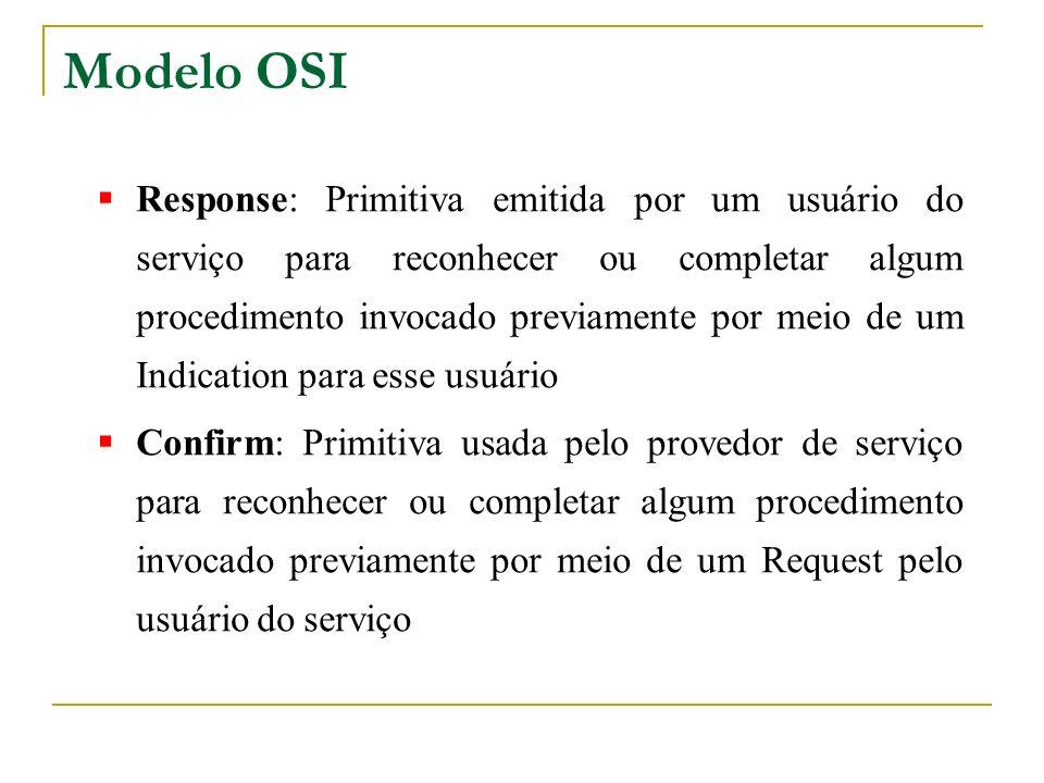 Modelo OSI Response: Primitiva emitida por um usuário do serviço para reconhecer ou completar algum procedimento invocado previamente por meio de um I