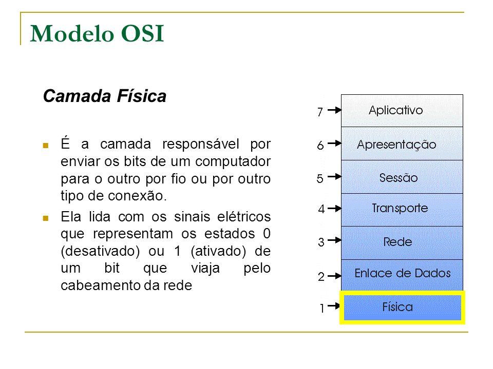 Modelo OSI Camada Física É a camada responsável por enviar os bits de um computador para o outro por fio ou por outro tipo de conexão. Ela lida com os